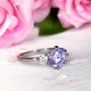 ⭐3/$20 Lilac Silver Plated Ring Size 8